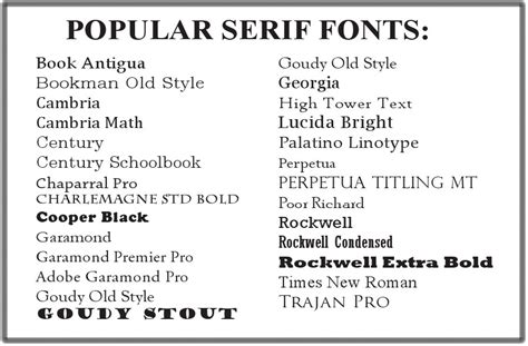 printed popular serif fonts how to serif fonts and typography