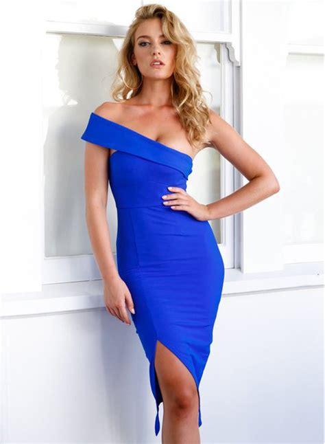 Womens Off Shoulder Slit Bodycon Night Club Dress Roawecom