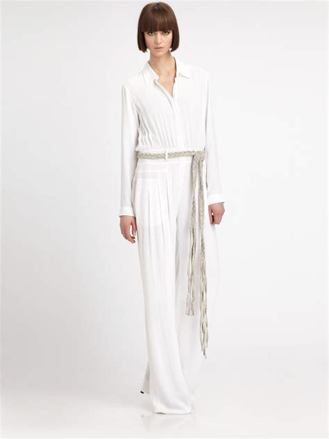 white sleeve jumpsuit l 39 agence longsleeve buttondown jumpsuit in white lyst