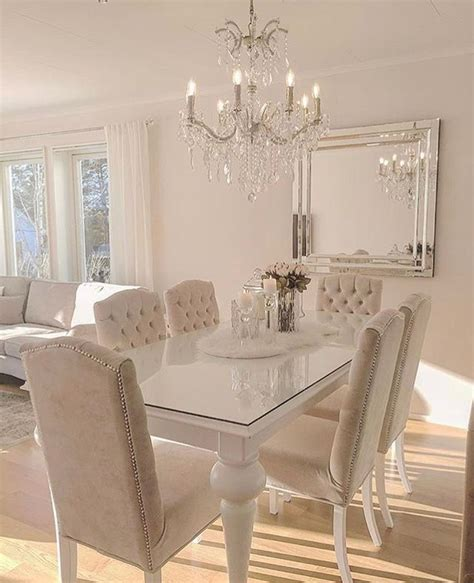 silver  cream colored dining room luxury dining room
