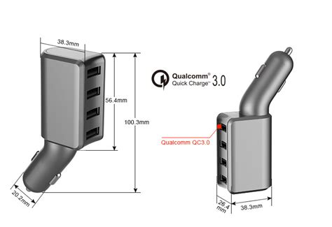 Qc3.0 Car Charger Qualcomm Quick Charge With 4-port Usb