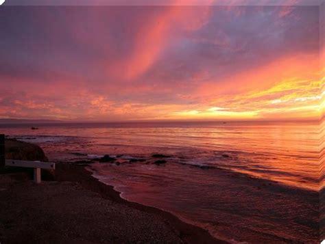 sunset beach pink shell waves california