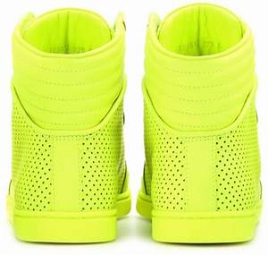Gucci Neon Leather Hightop Sneakers in Yellow