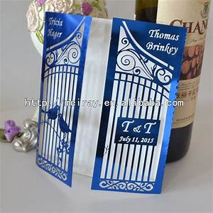 aliexpresscom buy luxury royal blue wedding invitations With laser cut birdcage wedding invitations