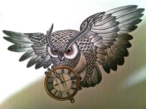 fabulous owl  clock tattoos ideas golfiancom