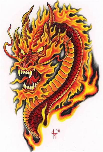 Tattoo Dragon Designs Fire Flame Tattoos Colored