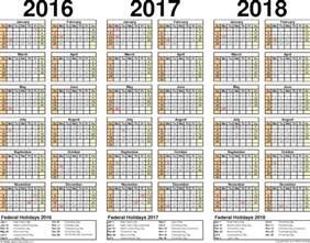 2016 2017 2018 Year Calendar Printable