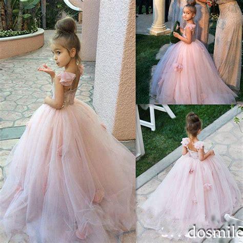 pink blush flower girl dress spaghetti straps junior