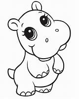 Hippo Coloring Printable sketch template