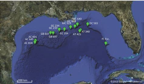 map  collection sites   gulf  mexico sampling