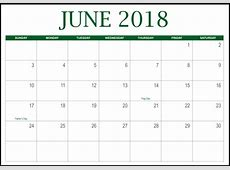 Print June 2018 Calendar Best Calendar Printable, PDF