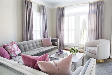 Curtain Inspiring Combination Gray And Pink Curtains Decor