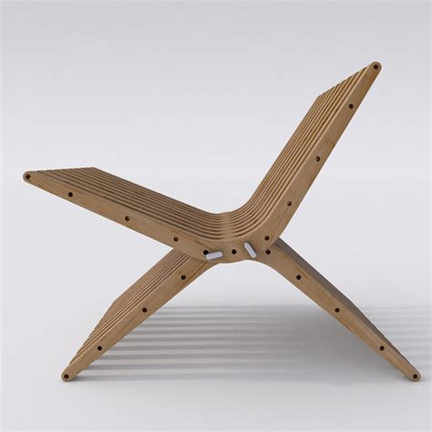 wooden lounge chair boomerang by gyf a m 3docean