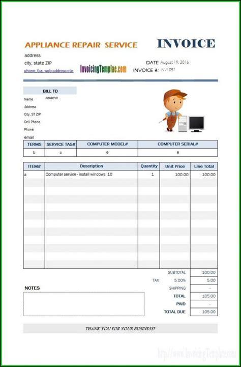 hvac service invoice template template  resume