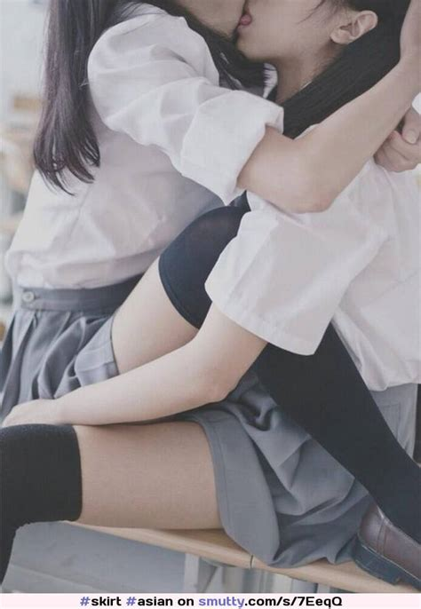 Asian Schoolgirl Lesbian Kissing Nonnude Stockings Skirt