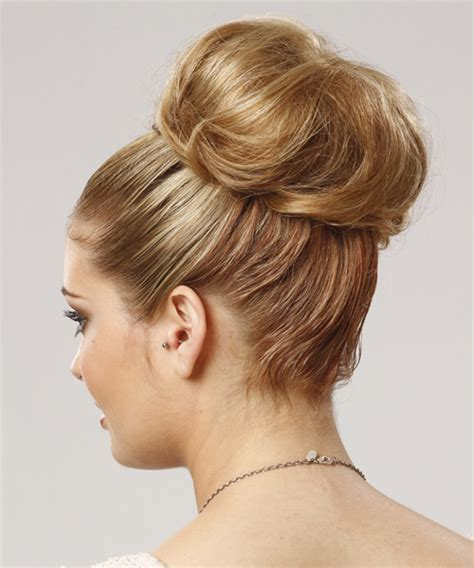 formal long straight updo hairstyle blonde hair color