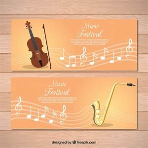 Banners of classical music with pentagram and violin ...