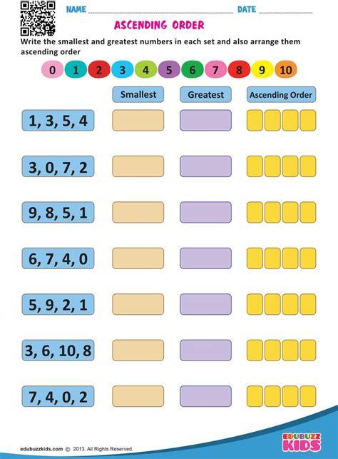 ascending order  grade math worksheets number