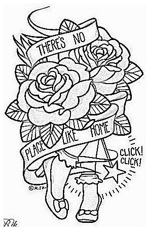 #RetroTattooIdeas #Tattoo Theres No Place Like Home - Wizard of Oz Inspired embroidery pattern