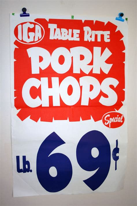 vintage  table rite pork chops grocery store poster