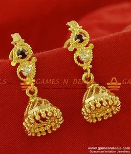 Traditional Small Daily Wear Ad Jhumki Design Gold Plated ...
