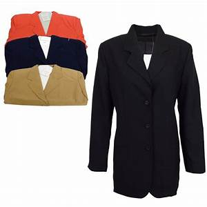 LADIES LONG SLEEVE BUTTON SMART BLAZER LINED SUIT JACKET ...