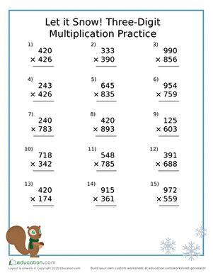 Let It Snow! Threedigit Multiplication Practice  Worksheet Educationcom