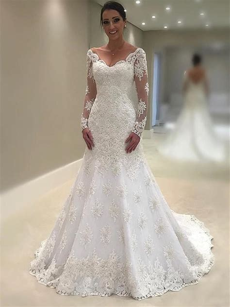 elegant lace  neck neckline mermaid wedding dresses