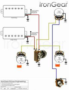 Wiring Diagram 2 Humbuckers 1 Volume 1 Tone 3 Way Switch