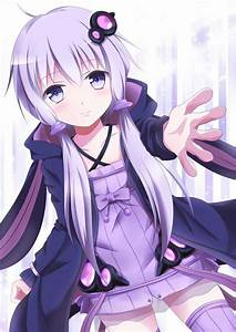cute anime girl with purple hair and purple eyes wearing a ...