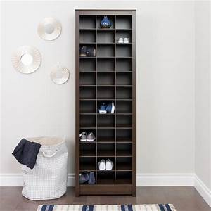 Prepac Espresso Space-Saving Shoe Storage Cabinet-EUSR