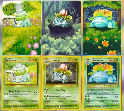 See how 6 of our most favorite pokemon characters change and develop!download pikachu, bulbasaur & I painted the Bulbasaur family's cards : pokemon