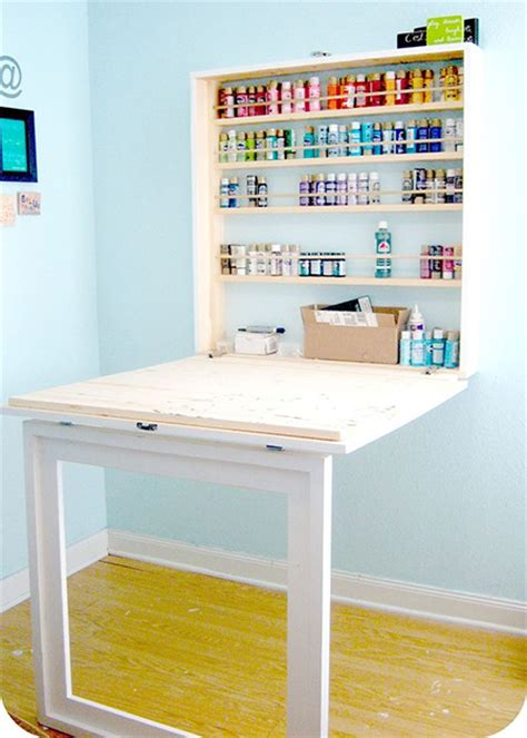 craft cabinet with drop table home dzine home diy drop workbench or craft table