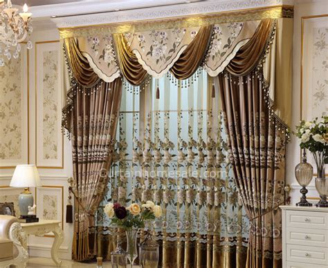 livingroom valances luxury faux silk fabric living room curtain in coffee color without valance