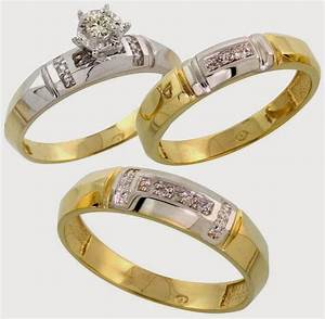 Trio diamond white gold wedding ring sets sale images for Wedding rings silver and gold