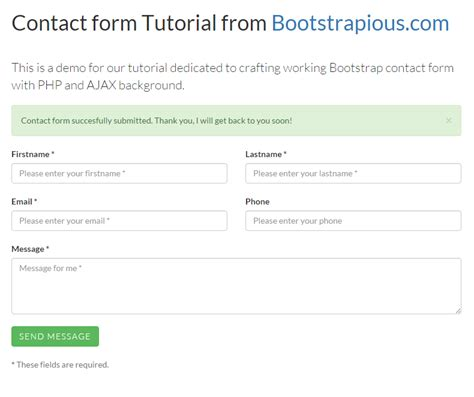 a working bootstrap html contact form step by step tutorial