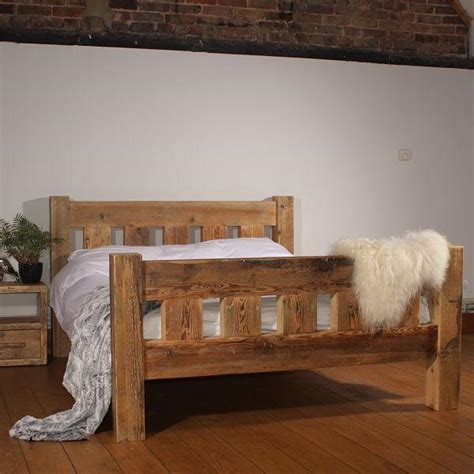 Handcrafted Reclaimed Wood Bed   Rustic Wooden Bed  Modish