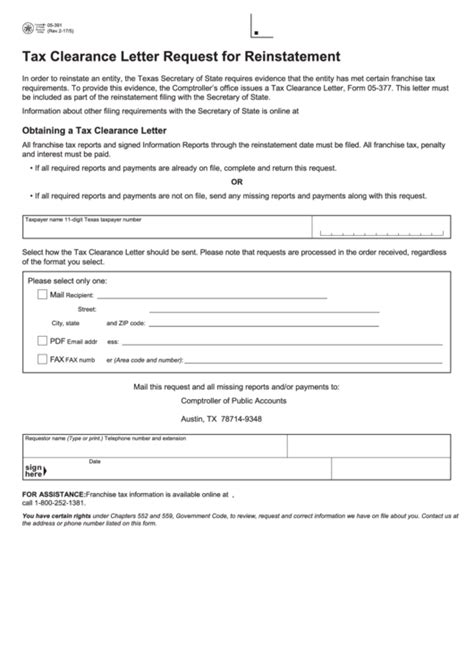 fillable form   tax clearance letter request