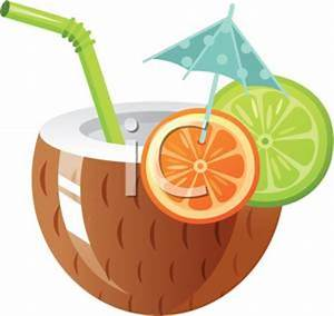 printable clip art of A mixed drink in a coconut half for ...