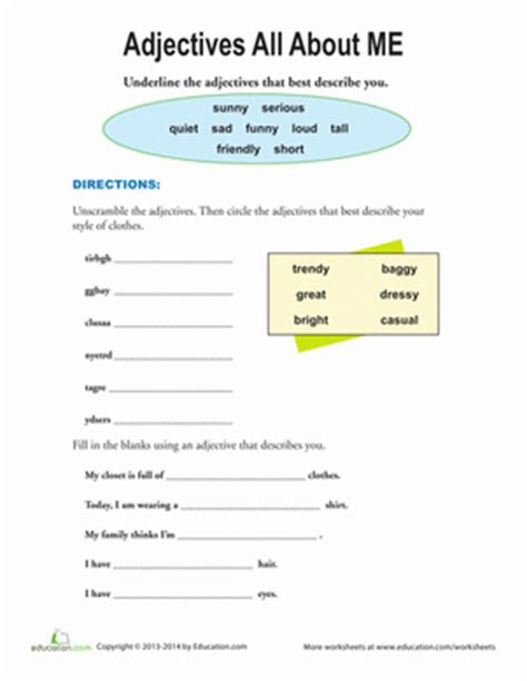 adjectives that describe me worksheet education
