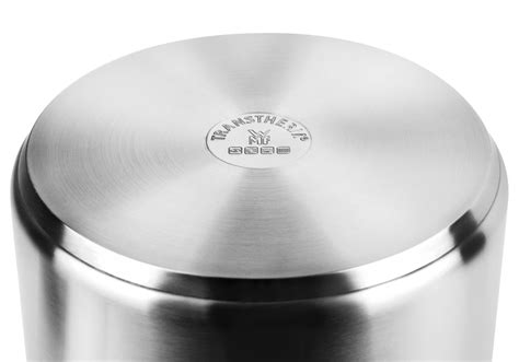 wmf large stainless steel stock pot  transtherm base  quart cutlery