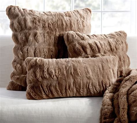 faux fur pillow ruched faux fur pillow cover taupe pottery barn