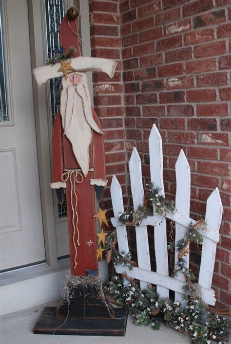 wooden fence post santa tall standing santa current