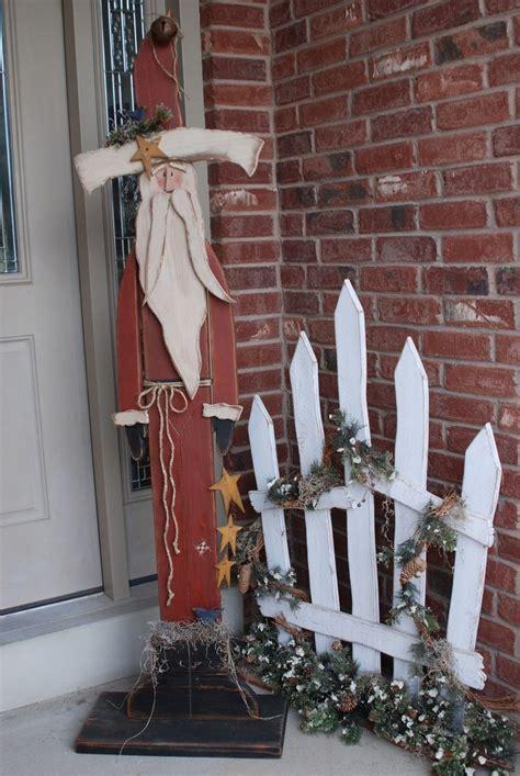 wooden fence post santa tall standing santa current