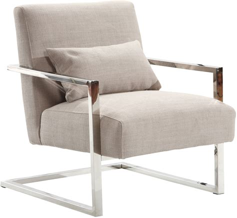 Skyline Modern Gray Linen And Steel Accent Chair From