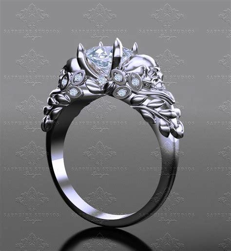 venice ct princess cut white gold skull engagement ring