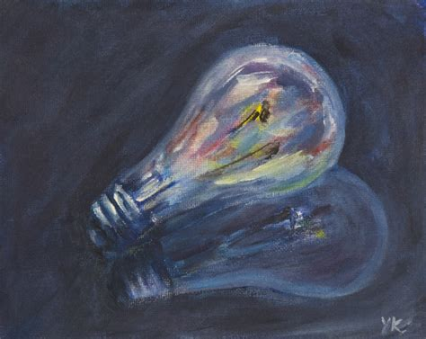 Painting. Happy Light Bulb