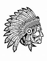 Indian Chief Native Coloring Adult Drawing Americans Indians Adults sketch template