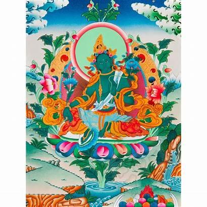 Tara Thangka Verde Verte Monastery Brocade Silk