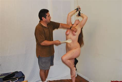 wooden tool spanking and corporal punishment of kinky caras bare bottom and brui pichunter